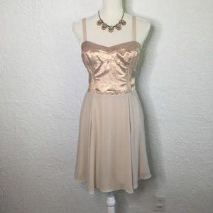 EXPRESS Metallic Rose Sweetheart Dress Size 10